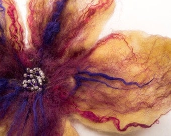 Pale Yellow and pink/purple Hand felted flower brooch