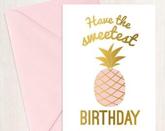 Sweet Pineapple Birthday Printable Card - Pink
