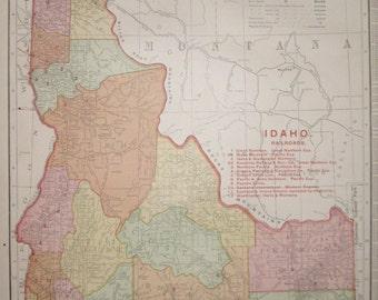 RARE Size Antique IDAHO Map Vintage Map of Idaho State Map w RAILROADS 1908 Travel Map Decor Gallery Wall Art  Plaindealing 5680