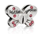 Mom Gift Idea - Mother Daughter Butterfly European Charm Bead With Pink Rhinestones For Large Hole Charm Bracelets