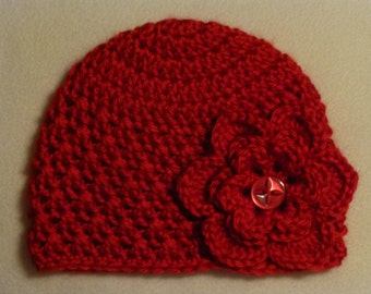 0 to 3 Months Hat w/ 3 Removable Flowers
