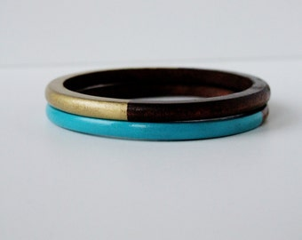 Geometric  Skinny Wood bangle  Set Gold and Turquoise.