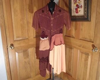 UpCycled Women's Brown Gauzy Tunic Dress size Medium