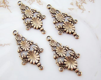 Antique Brass Ox Vintage Style Art Nouveau Floral Vine Chandelier Earring Connectors - 4