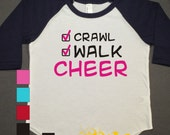 Cheer Kids Raglan Personalized Printed Tshirt, 3/4 sleeve, baseball shirt, crawl walk shirt, Toddler Raglan