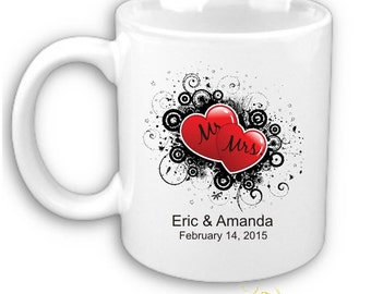 Hearts with Date Personalized Printed Coffee Mug