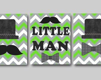 Little Man Nursery Childrens Art Baby Boy Nursery Art Print Kids Art Childrens Wall Art Baby Room Decor Kids Print set of 3 Green Gray