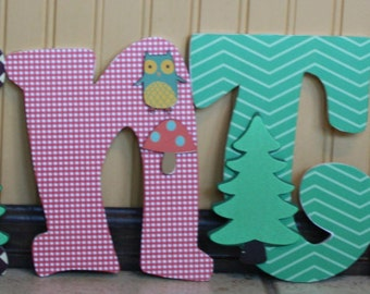 Custom Nursery Letters- Personalized Name-Hunter-Woodland animals-Wooden Hanging Letters - Honey Boo Boutique