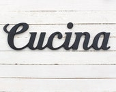 Cucina wooden sign wood words italian home restaurant kitchen chef eat black script decor wall decoration any color gift idea