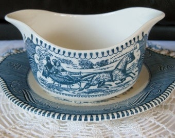 Currier and Ives Winter Run Gravy Boat with Man at the Well Underplate Very good Hard to Find