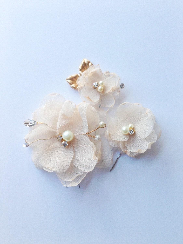 Ivory chiffon floral hair pins chiffon floral headpiece