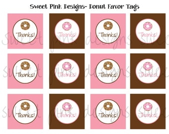 Donut Favor Tags, Favor Tags, Donut Party, Donut Printables, Printable Favor Tags, Instant Download