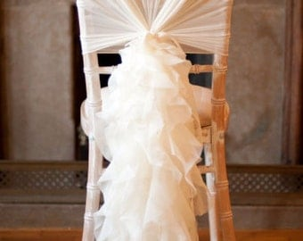Romantic Ruffles Chiffon Chair Sash & Cap