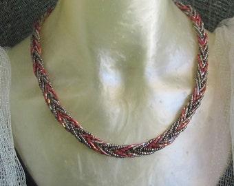 Handmade unique braided glass bead necklace, beaded, beadwoven, beadwork