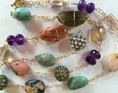 14K Solid Gold, Moonstone and Peridot Bead and Multi Gemstone Nugget Necklace, Green Garnet, Amethyst, Peruvian Blue Opal, Aquamarine
