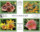 Note Cards:  Flowers in Pinks and Gold; photographs by MM