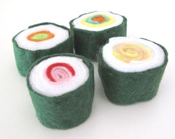 Japanese Sushi Felt Play Food, Felt Pretend Takeaway, Toy Kitchen Food