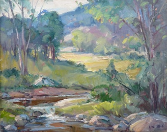 Spring Landscape - Original oil painting by Carl W. Illig, American, sunny green country, creek