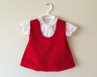 70s Girls Red Velvet A-Line Dress with White Blouse, Size 6  to 9 Months