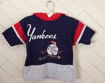 80s Rookie League NY Yankees Hooded Tee Shirt, Unisex Size 4T to 5T