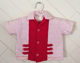 60s Carter's Baby Boy Red Striped Rockabilly Collared Shirt, Size 6 Months