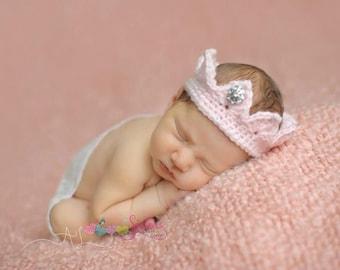 Newborn Crochet Princess Crown - Baby Crown Tiara – Newborn Tiara Headband – Newborn Crown Prop – Crochet Newborn Tiara – Crochet Baby Crown
