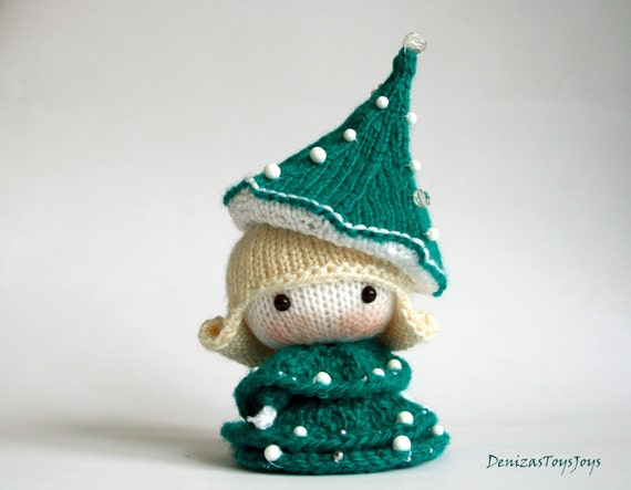 Knitting Toys In The Round : Small doll in the christmas tree dress toy from