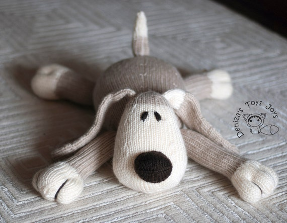 Knitting Toys In The Round : Dog pdf knitting pattern knitted in the round toy for