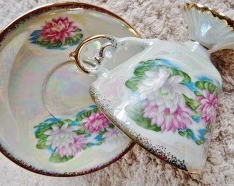 July Waterlily Iridescent Flowered Cup and Saucer, Vintage