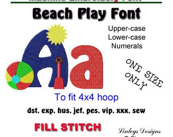 Download Machine Embroidery Alphabet:  Beach Play Font