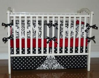 Custom  Crib Baby Bedding  3-5pc Set , Baby Bedding,Crib Bedding Red  Minky, Black  and White Damask, Polka Dot.Damask Baby Bedding