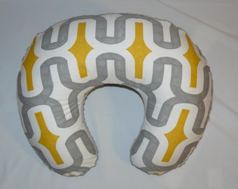 Boppy Cover, Boppy Slipcover, Nursing pillow cover,  Boppy Pillow cover , Yellow, Grey , Minky