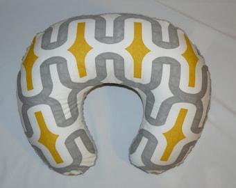 SALE>Nursing Pillow  Slipcover, Yellow, Grey , Minky