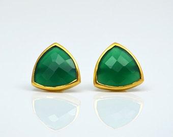 Green Onyx stud Earrings, May Birthstone studs, Triangle stud earrings, green onyx earrings, bezel set studs, post earrings, onyx jewelry