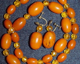 Butterscotch Amber Bakelite Necklace w Matching Earrings Demi Parure Set Vintage Antique Art Deco Set