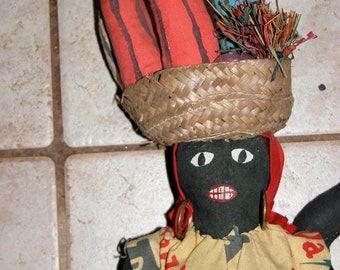 Black African Dolls Fun Vintage Folk Dolls Pair of Negro Island or African Dolls Circa 1950s-60s