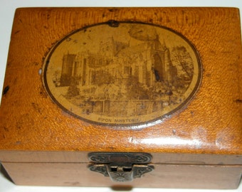 Edwardian Treenware Box Miniature Treen Box British RIPON Ministry TREENWARE Souvenir Miniature Box