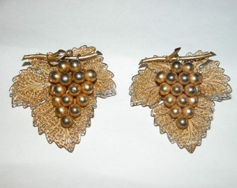 Filigree Grape Pins Sweet Silver Gold Vermeil Figural Grape Cluster Matching Brooch Pair of Brooches