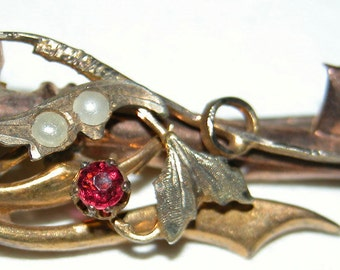 Edwardian Paste Ruby Brooch Victorian Gold Filled Early 1900s Wire Brooch Bar Pin Ruby and Emerald Paste Rhinestones