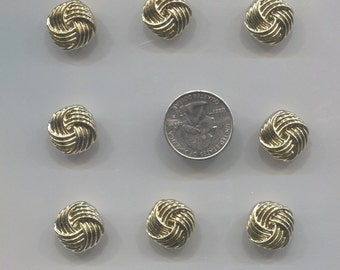 Set of 8 Gold Plastic Buttons-(3/8 in)-M18