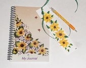 Sunflower Spiral bound notebook gift set; writers journal; dream journal; gift journal; diary