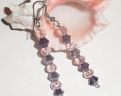 Handmade Swarovski earrings; Purple shimmering jewelry; Dangling earrings; Swarovski crystal jewellery; Shimmering Earrings