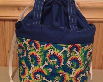 Insulated lunch tote bag bones, puppy, tie dye, blue