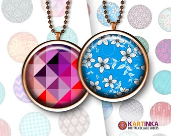 PATTERNS MIX - 1 inch and 1.5 inch 25mm Circles Digital Collage Sheet Printable Download for Pendants Magnets