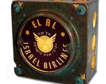 Retro El Al Israel Airlines Night Light Luggage Label Industrial Chic