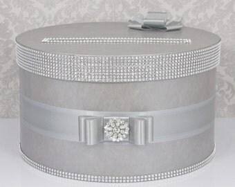 Wedding Card box / Card holder / Wedding money box - silver