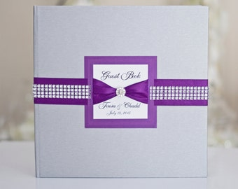 Wedding Guest Book - Personalized - silver + purple