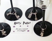 WINE CHARMS Harry Potter themed set of 6 with their own message card and organza bag