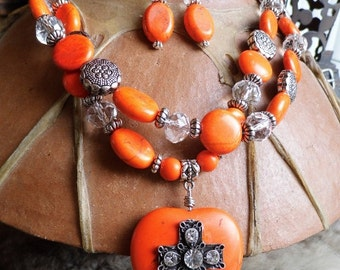Chunky western rhinestone cross orange magnesite heart necklace and earring set