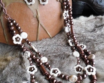 Chunky western three strand white magnesite flower and brown glass pearl necklace and earring set